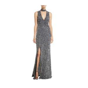 Alice & Olivia Arial Embellished V-Neck Gown